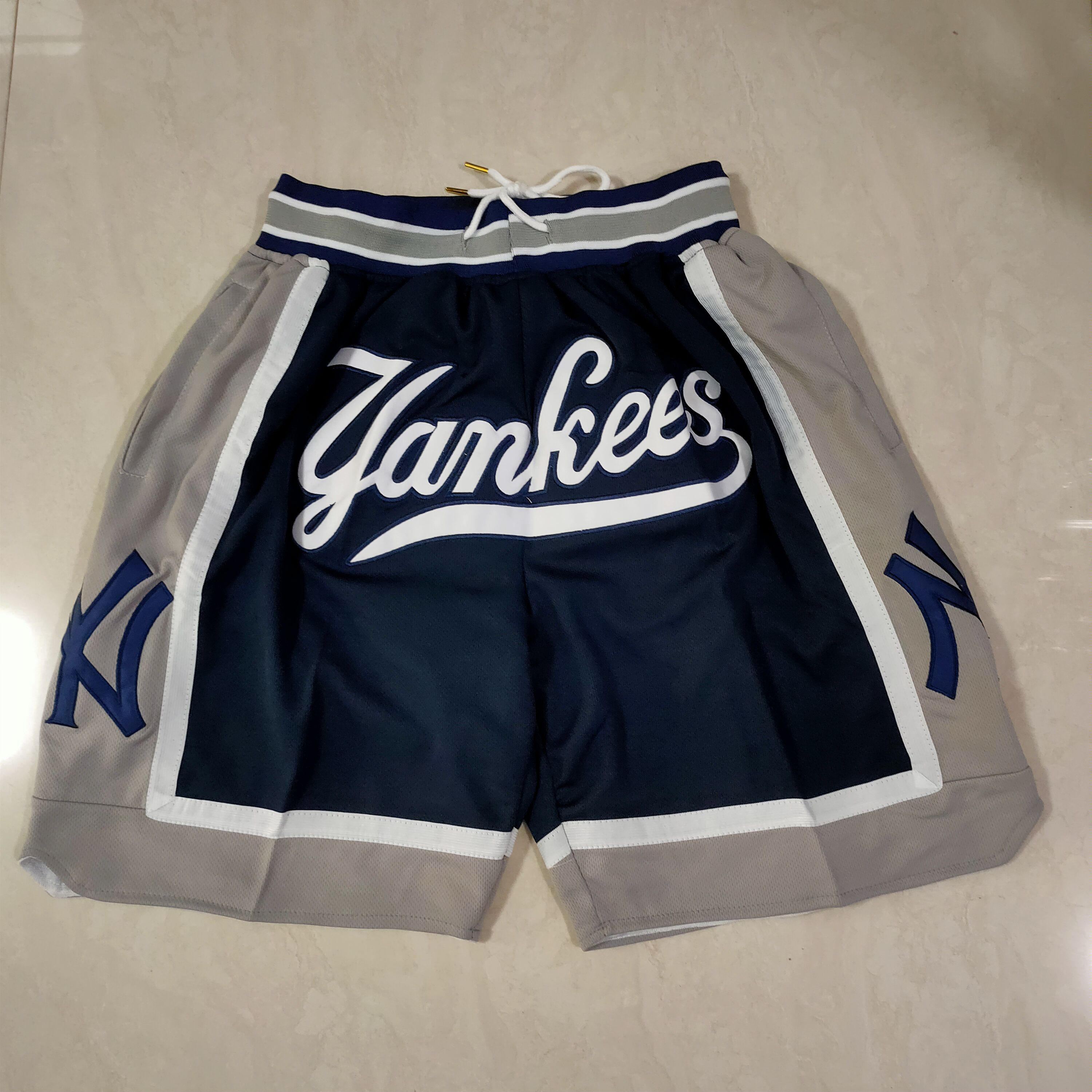 Cheap Men MLB New York Yankees Blue Shorts